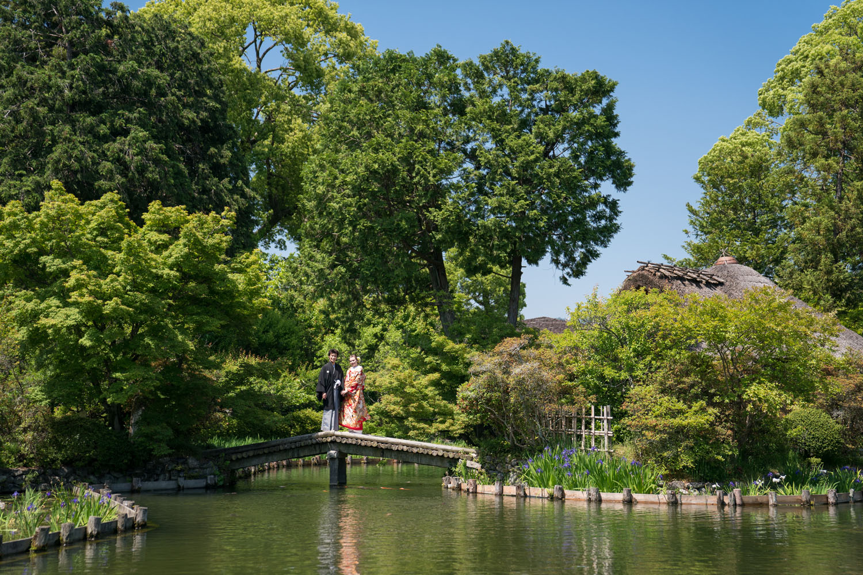京都の梅宮大社にある池泉回遊式庭園